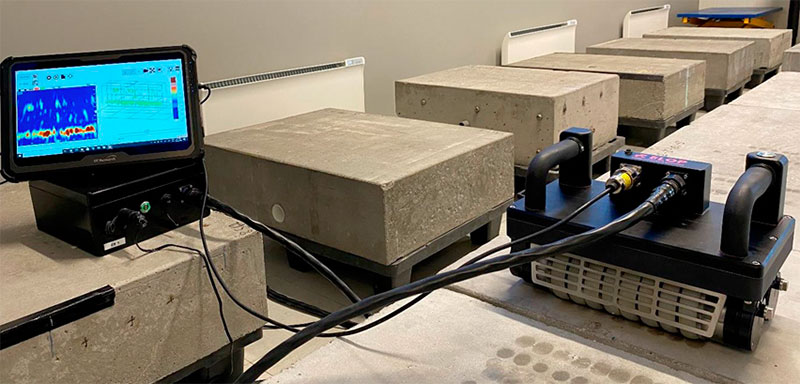 test setup with 10 different concrete specimens